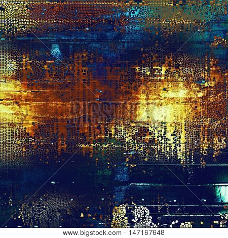 Art grunge background or vintage style texture with retro graphic elements and different color patterns: yellow (beige); brown; blue; red (orange); purple (violet); cyan