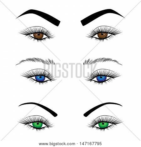 Vector set female eyes with long eyelashes and eyebrows different shapes