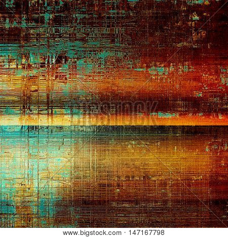Colorful grunge texture or background with vintage style elements and different color patterns: yellow (beige); brown; blue; red (orange); cyan