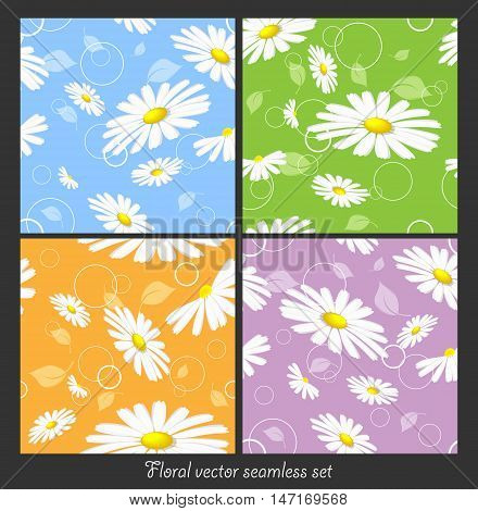 floral seamless vector patterns set with chamomilles. Swatch is included as a separeted layer. Eps10