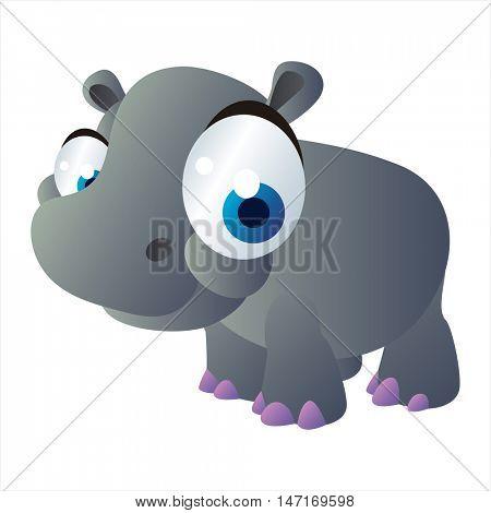vector cartoon cute animals. Funny Hippopotamus