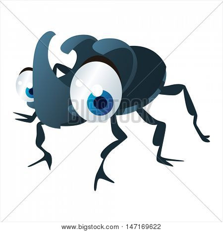 vector cartoon cute animals. Funny insects. Rhinoceros beetle