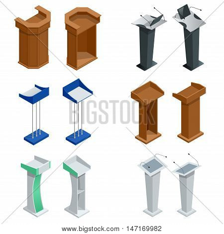 Isometric rostrum, podium, tribune with microphones Vector illustration