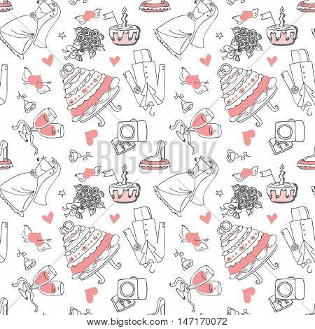 Wedding Doodle line seamless pattern for design