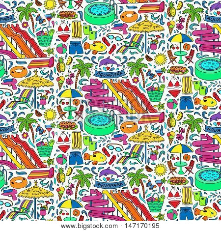 Hand drawn aquapark seamless pattern. Water entertainment objects and elements. Doodle colorful wallpaper