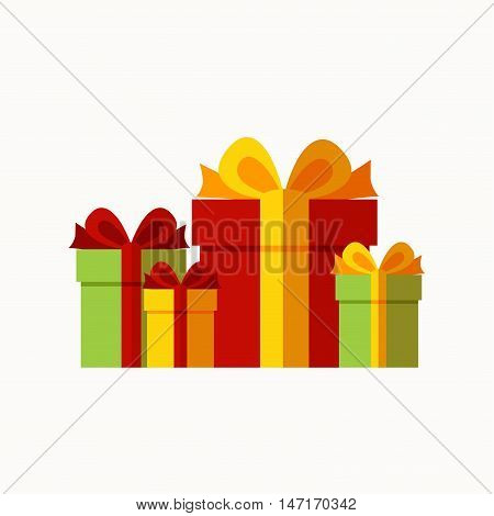 Presents background concept. Vector presents celebration illustration. Concept of flat presents icons. Colorful  presents greeting concept  for your design. Greeting presents elements isolated.