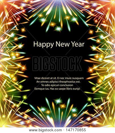 fireworks, color card, horizontal, vector, greeting card, congratulations, happy