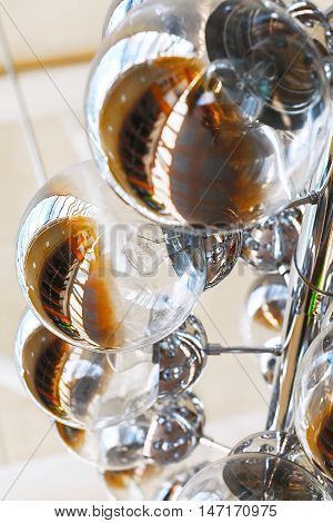 Abstract pattern glass circles and light bulbs