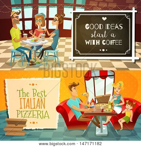 People in restaurant two horizontal banners with cafe visitors drinking coffee and family with kid in interior of pizzeria flat vector illustration