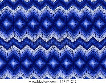 Ethnic Zig Zag Pattern Hippie Fabric Dark Blue