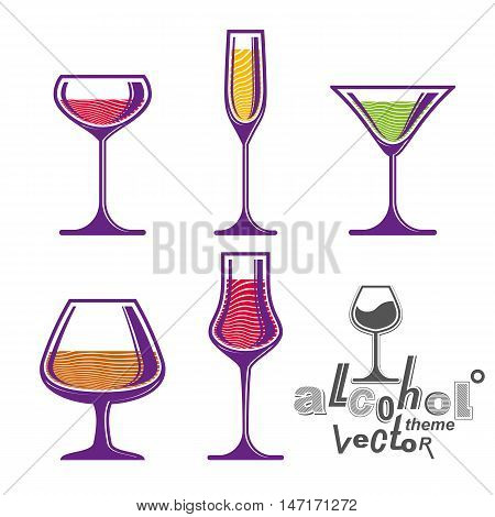 Colorful glasses collection, martini wine cognac whiskey and champagne.