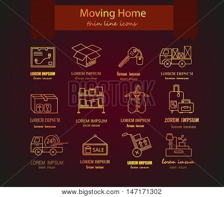 Warehouse logistic golden thin line icons. Moving home, moving house business services logo. Vector thin line icons.
