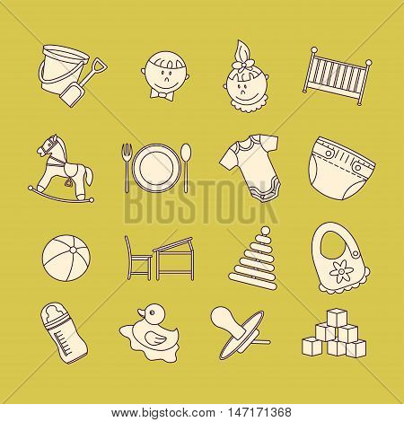 Child and baby care center color thin line icons. Kindergarten vector logo. Diaper, sandpit, slide, horse, ball, bottle, crib, pacifier.