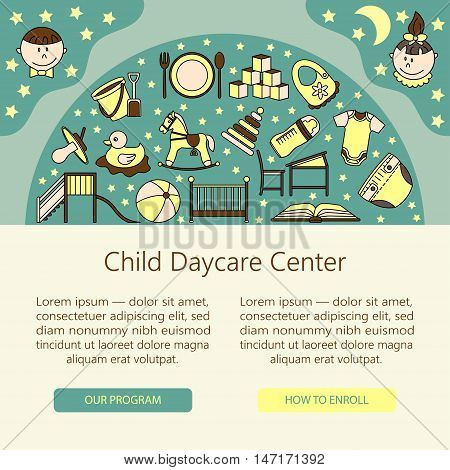 Child and baby care center web or card template with kindergarten vector logo. Diaper, sandpit, slide, horse, ball, bottle, crib, pacifier.