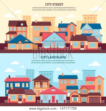 City landscape flat horizontal banners with one and two storey cottages and multi storey buildings flat vector illustration