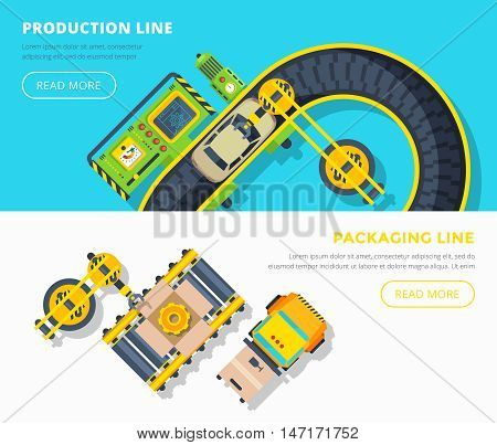 Top view horizontal banners of production line with car assembly and packing line with gears boxing vector illustration