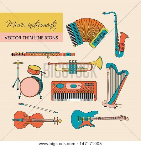 Vector thin line icons with different music instruments: synthesizer, drums, accordion, violin, trumpet, harp, drum, saxophone, electric guitar, flute, piano.