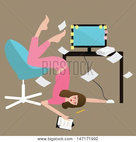 woman people hard work tired desk full of paper overwork exhausted in front of computer vector
