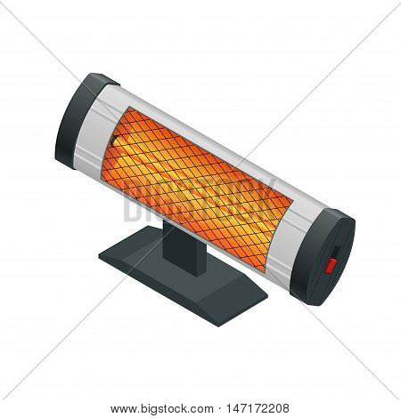 Isometric Halogen or Infrared heater. Home Heating appliances icons. Household appliances