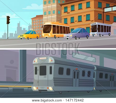 City transport cartoon horizontal banners set of subway station with train and ground passenger transportation at intersection flat vector illustration