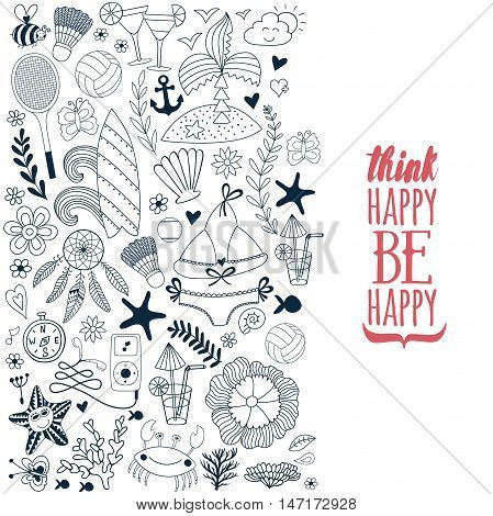 Summer vacation hand drawn vector elementss and objects, beach symbols