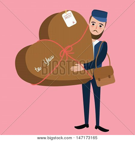 post man delivery guy bring package heart shape surprise vector
