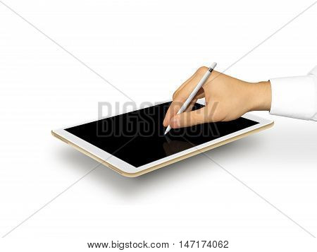 Hand holding stylus near graphic tablet blank screen. Empty tab display mock up. Designer drawing, painting, sketching. New digitizer pencil presentation. Gold tablet touchscreen mockup. Input device.