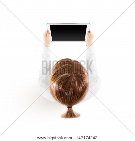 Woman hold tablet pc mockup in hand, top view isolated. White mobile ebook mock up holding in female hands from above. Blank black ipad tablet screen monitor. Clear horizontal display booklet person.