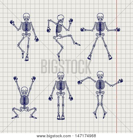 Outline style skeletons set vector on notebook page