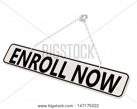 Enroll Now Banner Isolated On White