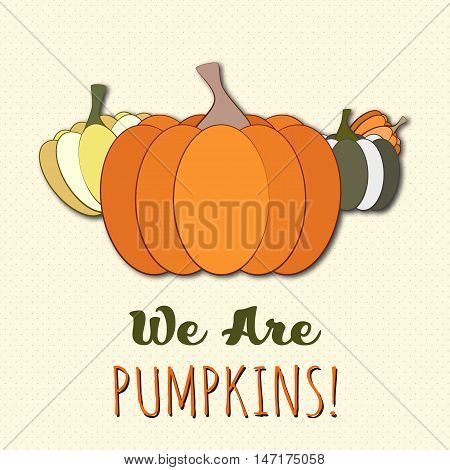 Funny vector pumpkins set. Pumpkin vector Halloween concept. Vector pumpkin on pattern background. Orange, green, brown pumpkins, stickers, magnets.