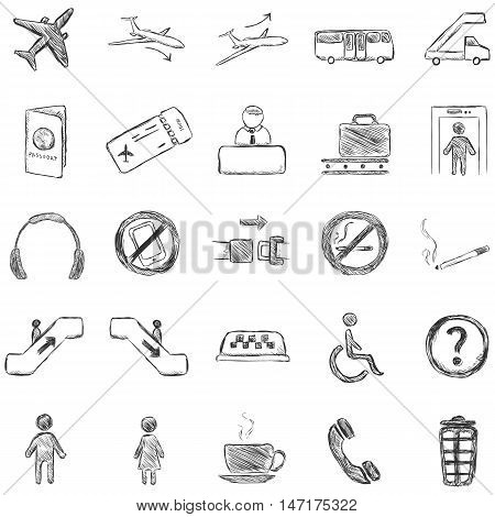 Vector Set of Isolated Sketch Airport Icons