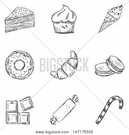 Vector Set Of Sketch Dessert Icons.