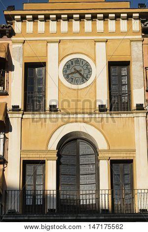 Toledo (Castilla-La Mancha Spain): facade of historic palace in the Zocodover square with clock