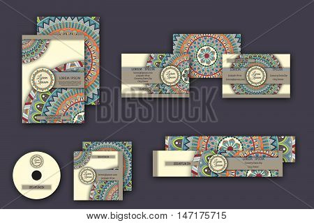 Corporate Identity Vector Templates Set With Mandala Pattern Ethnic Elements