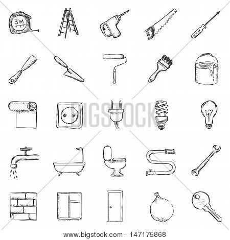 Vector Set Of Sketch Home Repairing