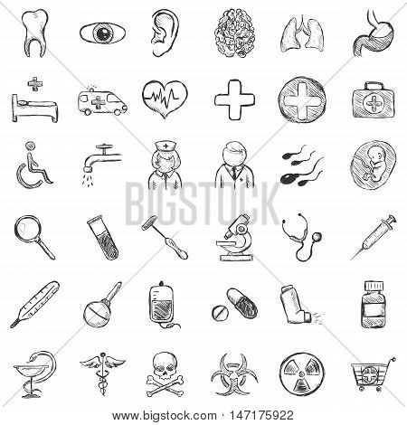 Vector Set of Isolated Sketch Medical Icons