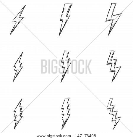 Vector Set Of Sketch Thunder Lighting Icons