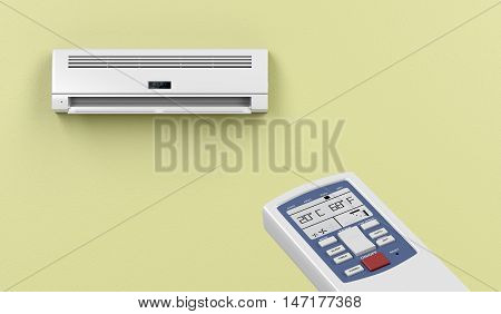 Remote controlled split system air conditioner, 3D illustration