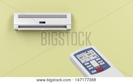 Remote controlled split system air conditioner, 3D illustration