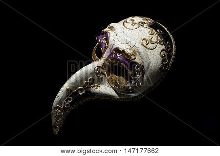 Traditional Venice Mask with Big Nose isolated on Black Background
