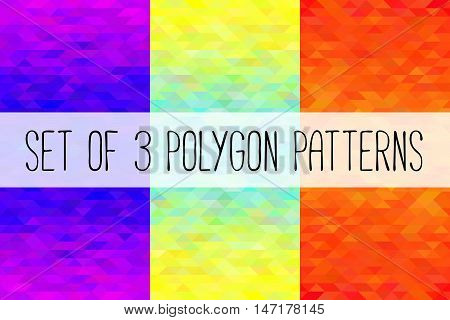 Set of 3 polygon patterns. Three colorful vector illustrations.