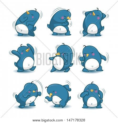 dancing penguin. Collection of  Various Penguins Cartoon Vector Illustration. Stickers for the application app.