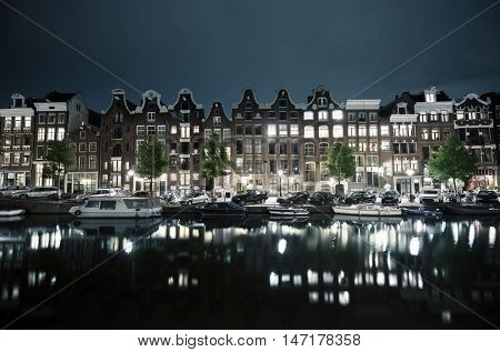 night view of Amsterdam, Holland