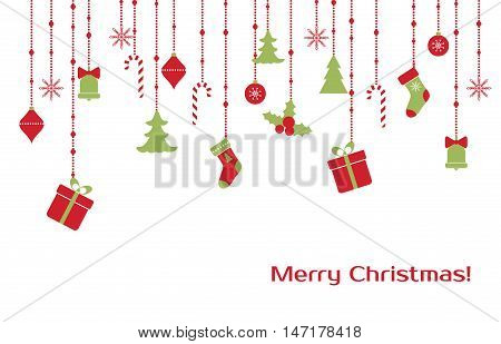 Christmas vector greeting card with hanging christmas toys, gift boxes