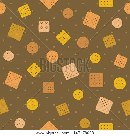 Biscuit,craker and polka dot seamless pattern background vector,design for wrapping paper pattern