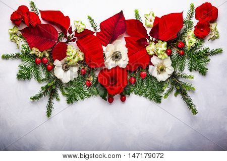 Christmas decoration with poinsettia, holly, ivy, mistletoe and fir branches on light background