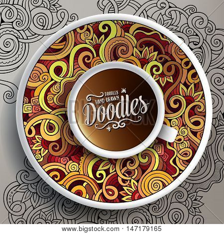 Vector illustration with a Cup of coffee and hand drawn curls, swirls doodles on a sauce and on the background