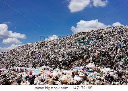 Landfill With Blue Sky And Cumulus Clouds