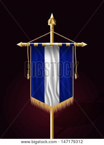 Flag Of El Salvador. Festive Banner Vertical Flag With Flagpol